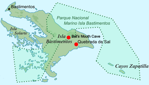 Map of Bastimentos Island with the location of the Salt Creek Village and the Bat's Mouth Cave