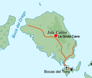 Map of Colon Island with the location of La Gruta Cave