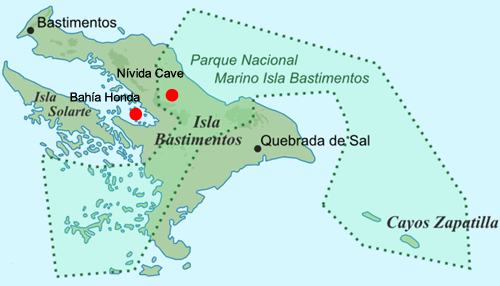 Map of Bastimentos Island with the location of Bahia Honda and Nivida Cave
